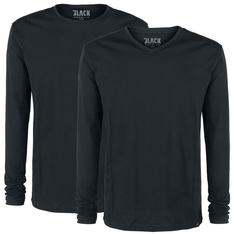 Double Pack Black Long-Sleeve Tops with Crew Neck and V Neck