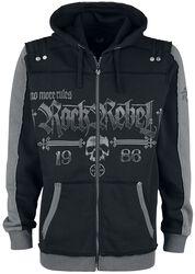 Black Hooded Jacket with Rock Rebel and Skull Prints