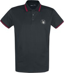 Black Polo Shirt with Embroidery and Red Details