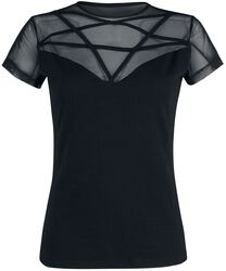 Black T-shirt with Lace and Pentagram