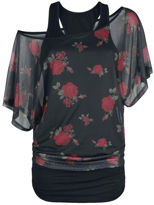 2 in 1 Mesh Roses Shirt