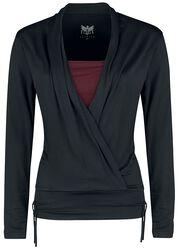 Long sleeve shirt in wrap-around design
