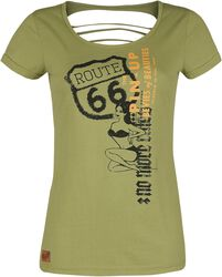 Rock Rebel X Route 66 - Olive-Coloured T-Shirt with Pin-Up Print and Cut-Outs