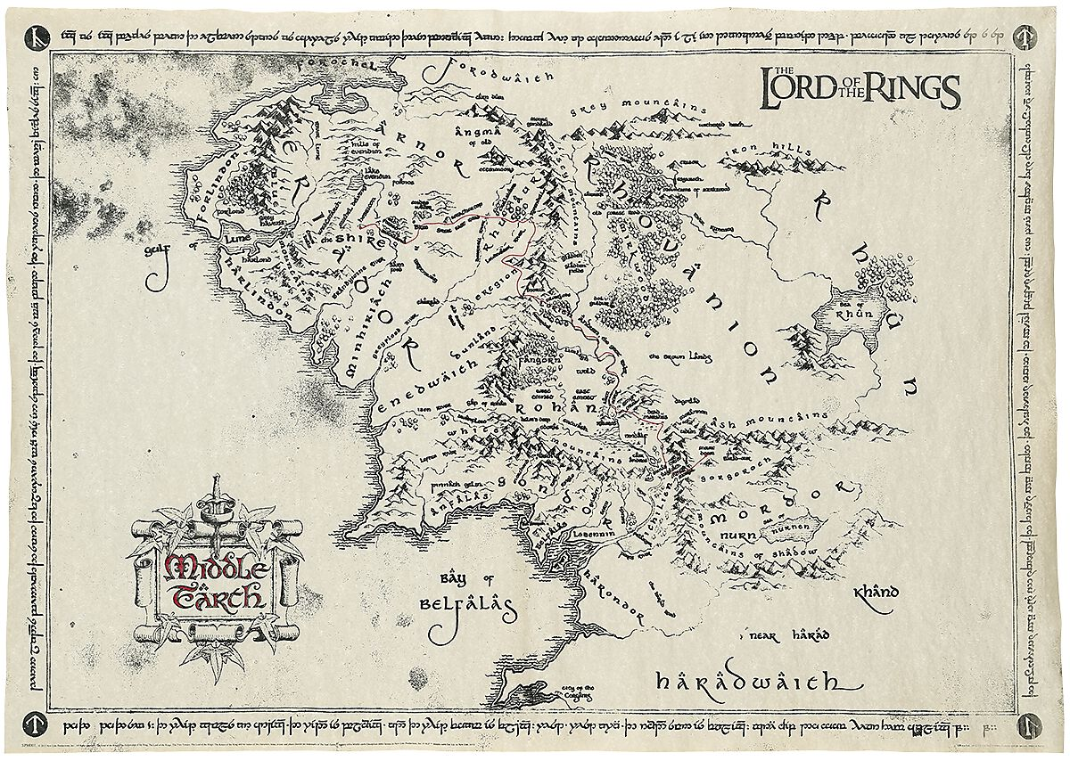 Middle Earth Map | The Lord Of The Rings Poster | EMP