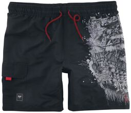 Black Swim Shorts with Pirate Ship Print