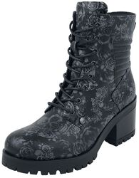 Black Lace-Up Boots with Skull & Roses Pattern and Heel