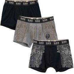 Black/Grey Boxershorts Set with Celtic-Style Prints