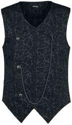 Schwarze Weste mit Brusttasche und Blitzmuster