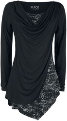 Black Long-Sleeve Shirt with Waterfall Neckline and Print