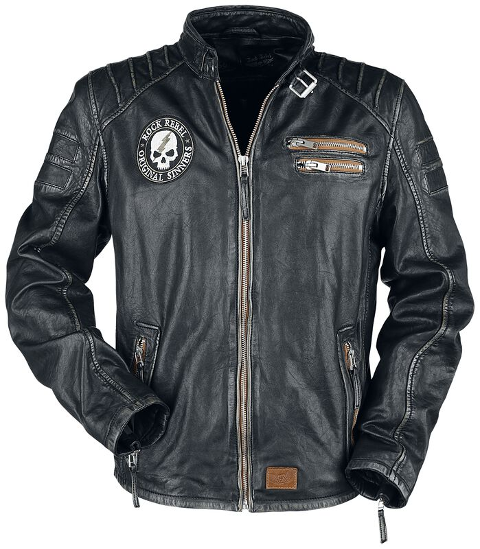 Rock Rebel X Route 66 - Black Leather Jacket with Contrasting-Coloured Embossing