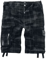 Black shorts with check pattern
