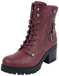Dark Red Lace-Up Boots with Buckles and Heel