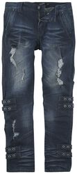 Blue Jeans with Distressed Effects and Eyelets