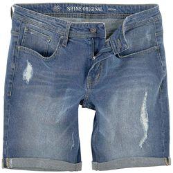 Regular Fit Denim Shorts Destroy Blue