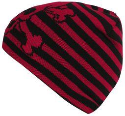 959d71c3108a2 Black-Red Striped Skull Hat