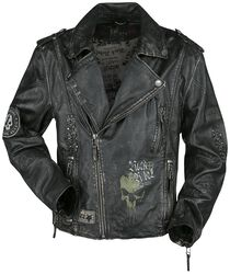 Dark Grey Biker-Style Leather Jacket