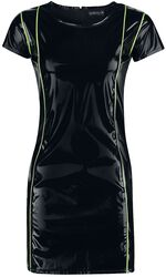 Black Lacquer-Look Dress with Neon-Coloured Details