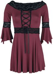 Burgundy Long-Sleeve with Flared Sleeves and Lace