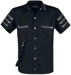 Schwarzes Kurzarmhemd mit Zierreißverschlüssen