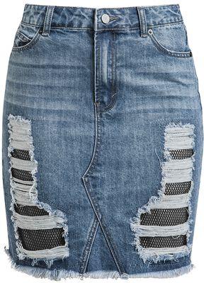 Denim Skirt with Mesh
