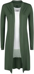 Long Olive Cardigan and White Top Black Premium