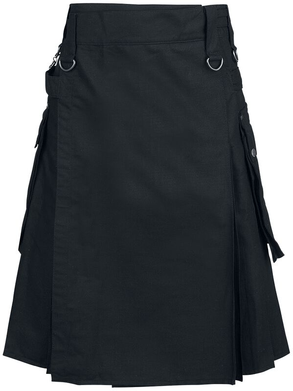 Black Kilt with Side Pockets and Back Pleats