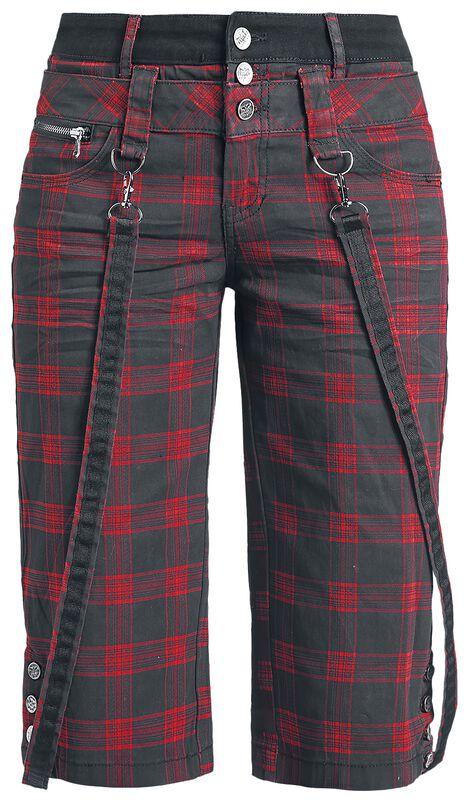 Black Premium Checked Shorts with Decorative Braces
