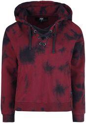 Red/black hoodie in batik look and with lacing