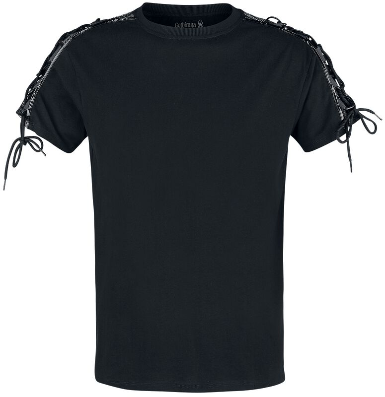 Black T-shirt with Lacing on the Sleeves