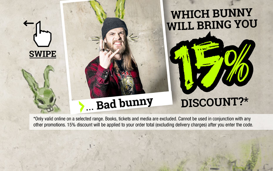 Which bunny will bring you 15% discount?